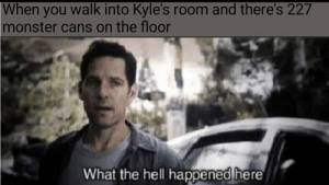Monster, Infinity, and Dank Memes: When you walk into Kyle's room and there's 227  monster cans on the floor  What the hell happened here He's collected all 227 infinity monsters