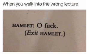 Hamlet, Fuck, and Classical Art: When you walk into the wrong lecture  HAMLET: O fuck  (Exit HAMLET.)