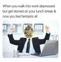 Af, Weed, and Work: When you walk into work depressed  but get stoned on your lunch break &  now you feel fantastic af  @weedhumor Cannabis is the ultimate cure-all