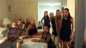 When you walk into your bachelorette party and find out your sister made all your friends wear a mask of your fiancés face! This is nightmare material, right here!: When you walk into your bachelorette party and find out your sister made all your friends wear a mask of your fiancés face! This is nightmare material, right here!