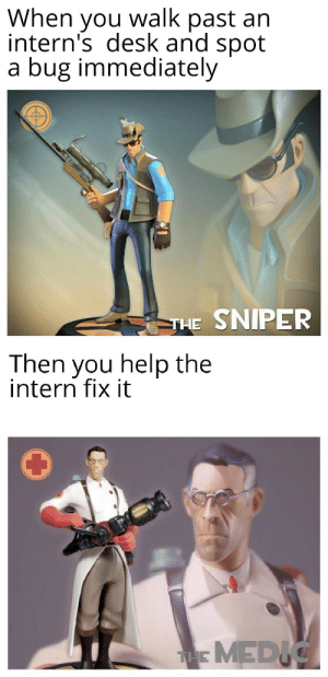 Sharing experience with interns…: When you walk past an  intern's desk and spot  a bug immediately  THE SNIPER  Then you help the  intern fix it  THMEDIC Sharing experience with interns…