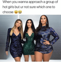 Girls, Memes, and Hot Girls: When you wanna approach a group of  hot girls but ur not sure which one to  choose When @fashionnova has all the ladies looking hot & you can't decide which one to pick 😂🔥