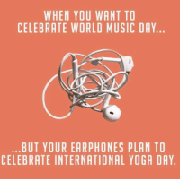 Double Tap if happens 😂 TAG all music junkies 🎧 WorldMusicDay InternationalYogaDay . ➡️ @ommy_007: WHEN YOU WANT TO  CELEBRATE WORLD MUSIC DAY  BUT YOUR EARPHONES PLAN TO  CELEBRATE INTERNATIONAL YOGA DAY Double Tap if happens 😂 TAG all music junkies 🎧 WorldMusicDay InternationalYogaDay . ➡️ @ommy_007