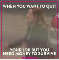 Quite, Indonesian (Language), and Job: WHEN YOU WANT TO QUIT  YOUR JOB BUT YOU  NEED MONEY TO SURVIVE