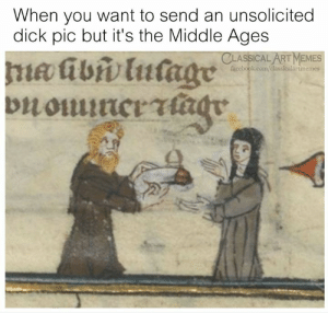 Facebook, Memes, and Dick: When you want to send an unsolicited  dick pic but it's the Middle Ages  CLASSICAL ART MEMES  facebook.com/classicalartmemes