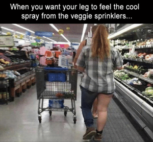 Funny Memes Of The Day 34 Pics: When you want your leg to feel the cool  spray from the veggie sprinklers..  Phn Funny Memes Of The Day 34 Pics