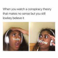 I love watching Shane Dawson's conspiracy theories (Follow me @its.carlll for more💜): When you watch a conspiracy theory  that makes no sense but you still  lowkey believe it  Trippy  OW I love watching Shane Dawson's conspiracy theories (Follow me @its.carlll for more💜)