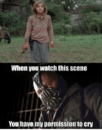 Meme, Walking Dead, and Watch: When you watch this scene  You have my permission to cry A friend of mine requested a walking dead meme. Hands down the saddest moment in any season. Season 4 episode 14. You all can cry now.   #gothamcitymemes  -RedHood