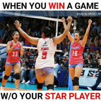 The Game, Game, and Power: WHEN YOU WIN A GAME  photo by ARVIN LIM  mlin  UKAS  eamli  12  18  W/O YOUR STAR PLAYER Creamline finishes the game in straight sets without Alyssa Valdez. #POWER