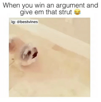 Memes, 🤖, and Struts: When you win an argument and  give em that strut  ig: bestvines ⠀ 🌱Lmao This Is Me! 😂 ✅By @konabears