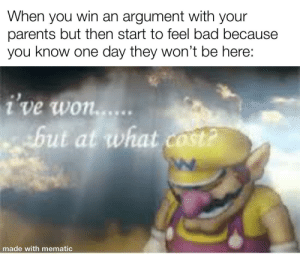 Bad, Parents, and Reddit: When you win  parents but then start to feel bad because  you know one day they won't be here:  an argument with  your  ive won....  but at what cost?  made with mematic This is reddit I probably should not talk about everyone's bad lives that just come here to conceal their own insecurities