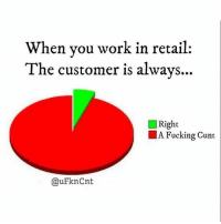 Cuntology: When you work in retail:  The customer is always..  Right  A Fucking Cunt  @uFknCnt Cuntology