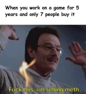 Work, Fuck, and Game: When you work on a game for 5  years and only 7 people buy it  Fuck this, i'm selling meth When Java crashes 7,678,907 times in the process as well
