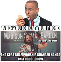 Fam, Memes, and Phenomenal: WHEN YOULOOKATYOUR PHONE  MADISON GARDEN  FAM @HE WHOLIKES SASHA  -THE WORLD  AND SEEACHAMPIONSHIP CHANGED HANDS  ON A HOUSE SHOW Always shocking to see this happen. Not really a fan of titles changing hands on house shows but congrats to styles. wwe wwememe wwememes ajstyles phenomenal phenomenalone thephenomenalone unitedstateschampion kevinowens fightowensfight wwelive johncena randyorton wrestler wrestling wrestlemania wrestlingmemes prowrestling professionalwrestling worldwrestlingentertainment wweuniverse wwenetwork wwesuperstars raw greatballsoffire smackdown smackdownlive sdlive wwesmackdown nxt