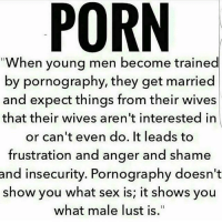 Life, Love, and Memes: When young men become trained  by pornography, they get married  and expect things from their wives  that their wives aren't interested in  or can't even do. It leads to  frustration and anger and shame  and insecurity. Pornography doesn't  show you what sex is; it shows you  what male lust is. also women lust! Check out all of my prior posts⤵🔝 Positiveresult positive positivequotes positivity life motivation motivational love lovequotes relationship lover hug heart quotes positivequote positivevibes kiss king soulmate girl boy friendship dream adore inspire inspiration couplegoals partner women man