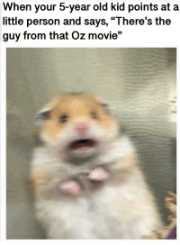 "Movie, Old, and Mom: When your 5-year old kid points at a  little person and says, ""There's the  guy from that Oz movie"" Sir, I want to assure you that he acts like this because of his mom"