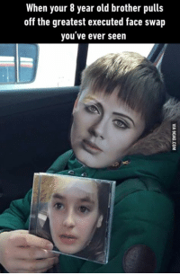 Dank, 🤖, and Brother: When your 8 year old brother pulls  off the greatest executed face swap  you ve ever seen This boy has won the internet! http://9gag.com/gag/a1MEpKv?ref=fbp