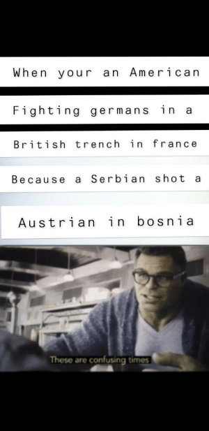 B U T E L L A: When your an American  Fighting germans in a  British trench in france  Serbian shot  Because  Austrian in bosnia  These are confusing times B U T E L L A