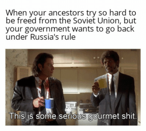 """Reddit, Shit, and Soviet: When your ancestors try so hard to  be freed from the Soviet Union, but  your government wants to go back  under Russia's rule  This is some serious gourmet shit It took me way too long to figure out it's """"ancestors"""" not """"antsisters"""""""