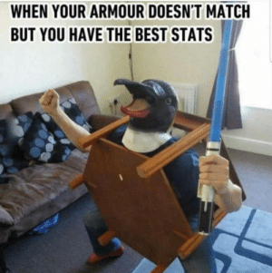 True: WHEN YOUR ARMOUR DOESN'T MATCH  BUT YOU HAVE THE BEST STATS True