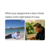 True, Three, and Assignment: When your assignment is due in three  weeks vs the night before it's due So true 😂