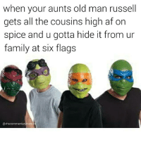 Six Flags: when your aunts old man russell  gets all the cousins high af on  spice and u gotta hide it from ur  family at six flags  @vhscommentarnymeme