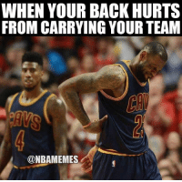 LeBron James already with a 29-10-12 triple double... #CavsNation FOLLOW LIVE: https://t.co/vFOzMriP0N https://t.co/BF4kN9YsKs: WHEN YOUR BACK HURTS  FROM CARRYING YOUR TEAM  @NBAMEMES LeBron James already with a 29-10-12 triple double... #CavsNation FOLLOW LIVE: https://t.co/vFOzMriP0N https://t.co/BF4kN9YsKs