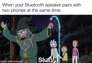 Meme ripoff from trending: When your Bluetooth speaker pairs with  two phones at the same time:  Slut!  made with mematic  adult swim] Meme ripoff from trending