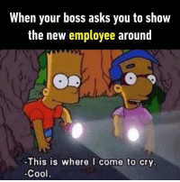 9gag, Memes, and The Simpsons: When your boss asks you to show  the new employee around  -This is where I come to cry  -Cool Wanna join me next time? Follow @9gag to forget sadness. 9gag simpsons sad cometo9gag