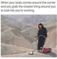 Funny, Lol, and Working: When your boss comes around the corner  and you grab the closest thing around you  to look like you're working Yup lol