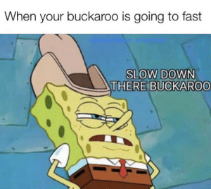 easy now: When your buckaroo is going to fast  ke anal  SLOW DOWN  THERE BUCKAROO easy now