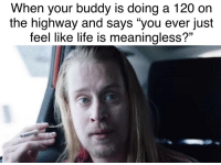 "Life, Invest, and Via: When your buddy is doing a 120 on  the highway and says ""you ever just  feel like life is meaningless?"" Multifaceted and CHEAP! INVEST NOW! via /r/MemeEconomy https://ift.tt/2Pxc49X"