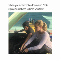 yes: when your car broke down and Cole  Sprouse is there to help you fix it yes