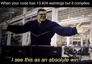 Warnings: When your code has 13,424 warnings but it compiles.  I see this as an absolute win! Warnings