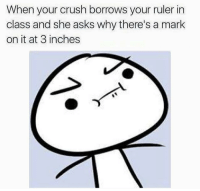 Crush, Ruler, and Asks: When your crush borrows your ruler in  class and she asks why there's a mark  on it at 3 inches https://t.co/ntMzmZMLTI