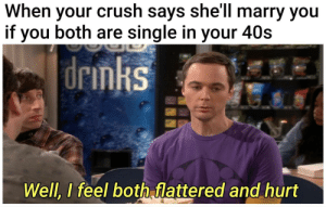 Crush, Memes, and Tumblr: When your crush says she'll marry you  if you both are single in your 40s  drinks  Well, I feel both flattered and hurt More of the best memes at http://mountainmemes.tumblr.com