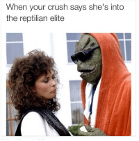 It's meant to be: When your crush says she's into  the reptilian elite It's meant to be