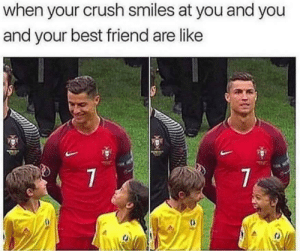Best Friend, Crush, and Dank: when your crush smiles at you and you  and your best friend are like  7  7 *Teenage girl intensifies* by oof-that-must-yeet MORE MEMES