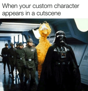 awesomesthesia:  My outfit is better than yours, Vader: When your custom character  appears in a cutscene awesomesthesia:  My outfit is better than yours, Vader
