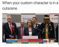 Funny, News, and Live: When your custom character is in a  cutscene  NEWS  LIVE  SLINGTON  レきISLING  きSLING  TON  ISLINGTO  COFL VATNTS LAENST FARTY  08 323 SEATS  LAB HOLO LUTON SOUTH  17  12  N 2015 Relatable