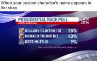 """Deez Nuts, Donald Trump, and Hillary Clinton: When your custom character's name appears in  the story  PRESIDENTIAL RACE POLL  NORTH CAROLINA  2016  HILLARY CLINTON (D)  DONALD TRUMP (R)  38%  40%  9%  DEEZ NUTS (I)  PUBLIC POLICY POLLING/MARGIN OF ERROR+/-3.2 <p>Deez Nuts via /r/memes <a href=""""http://ift.tt/2uH103W"""">http://ift.tt/2uH103W</a></p>"""