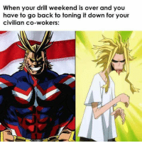 Some of you know what Im talking about: When your drill weekend is over and you  have to go back to toning it down for your  civilian co-wokers: Some of you know what Im talking about