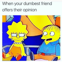 Funny, Lmao, and Friend: When your dumbest friend  offers their opinion  Tale A Lmao 😂