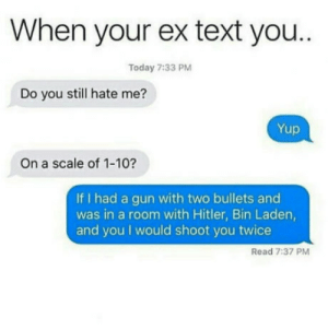 Like wtf would he/she expect after screwing it all up: When your ex text you..  Today 7:33 PM  Do you still hate me?  On a scale of 1-10?  If I had a gun with two bullets and  was in a room with Hitler, Bin Laden  and you I would shoot you twice  Read 7:37 PM Like wtf would he/she expect after screwing it all up