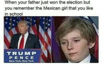 Memes, New York, and School: When your father just won the election but  you remember the Mexican girl that you like  in school  TRU MP  P E NCE  New York, Now York Damn 😢