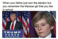 Memes, New York, and School: When your father just won the election but  you remember the Mexican girl that you like  in school  TRUU MIP  P E N C E  New York, New York