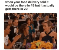 Memes, Being There, and 🤖: when your food delivery said it  would be there in 45 but it actually  gets there in 20