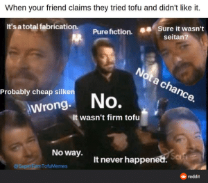I want ToFu tonight and every night!: When your friend claims they tried tofu and didn't like it.  Sure it wasn't  It's a total fabrication.  Pure fiction.  seitan?  Not a chance.  Probably cheap silken  No.  Wrong.  It wasn't firm tofu  No way.  Safe  It never happened.  @SuperFirmTofuMemes  reddit I want ToFu tonight and every night!