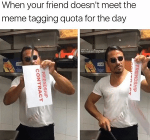 Dank, Meme, and Friendship: When your friend doesn't meet the  meme tagging quota for the day  MasiPopal  FRIENDSHIP  ACT  FRIENDSHIP  CONTRACT Our friendship is OVER