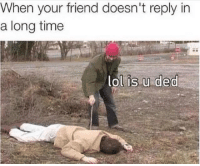 Lol, Memes, and Time: When your friend doesn't reply in  a long time  lol is.u ded